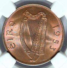 1953 IRLANDE 1/2 demi-penny pièce de monnaie - NGC MS 65 RB - KM#10 - rare