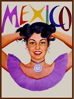 Mexico Vintage Travel Advertisement Art Poster Print. Seniorita