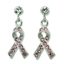 Awareness Ribbon Made With Swarovski Crystal Pink Support Earrings Jewelry
