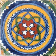 C#041) MEXICAN TILES CERAMIC HAND MADE SPANISH INFLUENCE TALAVERA MOSAIC ART