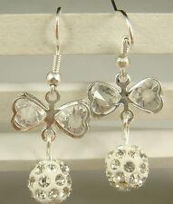 1pair butterfly 925 earrings silver pendant earrings Shambhala charm bead d6tj