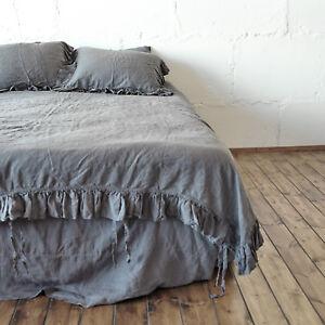 """Linen RUFFLE DUVET COVER with 6"""" ruffles Organic pure 100% linen French linen"""