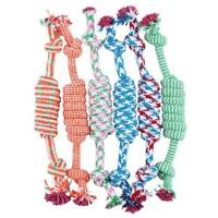 NEW Lovely Puppy Dog Pet Chew Toy Cotton Braided Bone Rope Color Chew Knot S0E1