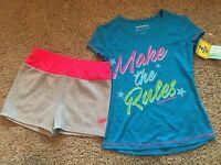 NWT Girls Blue Short Sleeve Gray Short 2pc Skechers Set 18 Months
