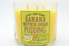 Bath body works BANANA NUTMEG BREAD PUDDING 14.5 OZ 3 WICK CANDLE