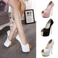 Womens Platform Peep Toe Stiletto Wedge Sandal Ladies High Heels Shoes Plus Size