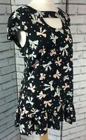 Next Cap Sleeve Keyhole Top Black with Blue Pink Bow Print Frill Size 14