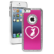 For Apple iPhone 6 6s Plus Crystal Rhinestone Bling Case Cover Chihuahua Heart