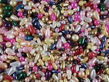 Beads Plastic Mix Pearls/Teardrops/Rice Asst Colours/Sizes 25g FREE POSTAGE