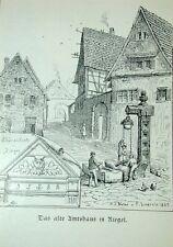 Riegel Kaiserstuhl Dorf Ziehbrunnen Kapelle Litho Lederle 1887