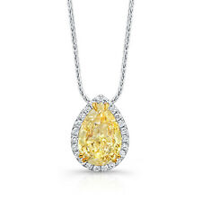 18kt Fancy Yellow SI 2.37ct Ladies Pear Shape Diamond Pendant