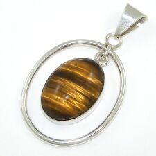 Sterling Silver/925 Mexico/Taxco Tiger's Eye Drop Dangle Open Ring Pendant LDD6