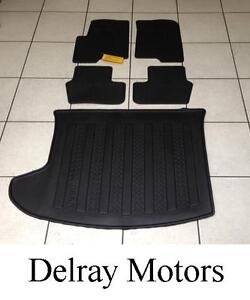 BLACK RUBBER SLUSH FLOOR MATS + CARGO TRAY 2011-2016 JEEP COMPASS/ PATRIOT. NEW!