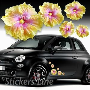Kit de Pegatinas Flores Coche Hibisco (28 Pcs Inteligente Fiat 500 Opel Adam