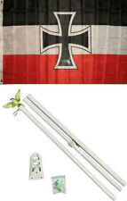 3x5 German Jack Iron Cross Germany Flag White Pole Kit Set 3'x5'