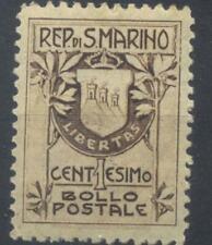 San Marino 1907 1c brown stamp used