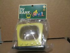 Vintage Ringo Toy Corp TV Television Plastic Bank Yellow RARE NIP See My Store