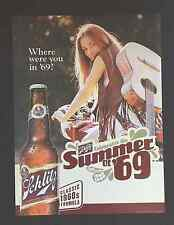 """Schlitz Beer Posters - """"Classic 1960's Formula""""- """"Where were you in '69"""" Nos"""