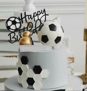 Acrylic Happy birthday black football cake topper soccer goal cupcake toppers