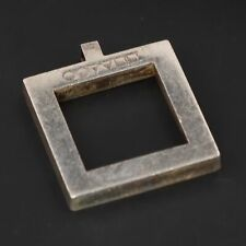 VTG Sterling Silver OLIVER PEOPLES Smooth Open Square Geometric Pendant - 13g