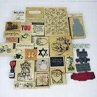 Wood Mounted Rubber Stamps Crafts Christmas Vintage Many Unused Lot 0f 32