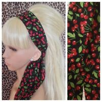 BLACK RED CHERRY PRINT 50s RETRO COTTON FABRIC HEAD BAND HAIR SCARF SELF TIE BOW
