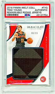 TRAE YOUNG 2018 Panini Immaculate #TYG REMARKABLE ROOKIE JERSEY /99 PSA RC AUTH