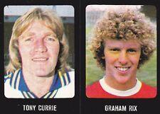 Uncut FOOTBALL 79 80 Adesivo, NN. 9 Graham Rix-Arsenal & 141 Leeds TONY Currie