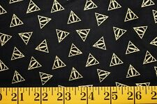 HARRY POTTER GOLD METALLIC  LOGO PRINT BLACK 100% COTTON FABRIC  26X43 INCHES
