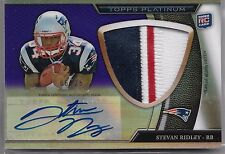 2011 Topps Platinum Purple Refractor Steven Ridley Auto 3 Color Patch Rc /25
