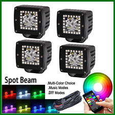 """1 set 4pcs 3"""" LED Work Light Spot Pods with RGB Halo Color Changing Bluetooth"""