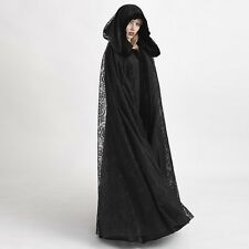 1pc Punk Gothic Cloak Black Witch Ghost Hooded Cape Halloween Cosplay Costume