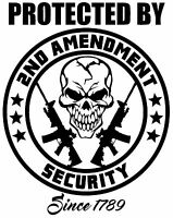 PROTECTED BY Vinyl Window Decal for 3 Percenters 2nd Amendment Gun Rights FA062