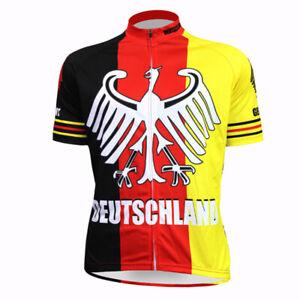 Germany Cycling Jersey Deutsch Biking MTB Men White Red Shirt Maillot Trikot Top