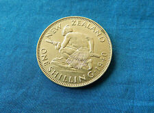 1940 New Zealand 1 Shilling Silver Coin *Low Mintage*         *AU+*