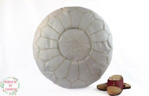 Moroccan foot stool ottoman Round embroidery pouffe with White Stitching leather
