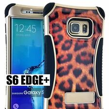 For Samsung Galaxy S6 Edge+ Plus - HYBRID SKIN CASE BROWN LEOPARD CHEETAH ARMOR