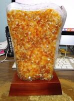 LARGE CITRINE CRYSTAL CLUSTER  CATHEDRAL GEODE  BRAZIL W/ WOOD STAND;