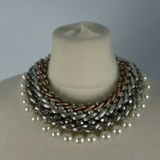 Silver Gold Pearl Costume Jewellery Statement Necklace Party Cruise Choker
