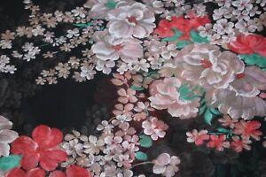 Vintage fabric black floral print sheer chiffon type material 450x114cm