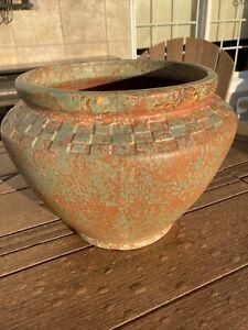 Burley Winter Pottery Mottled Orange Green Geometric Design Jardiniere Planter