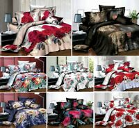 3D Design Bedding Cover Set 4Pcs Bed Throw Comforter Fitted Sheet Pillowcase