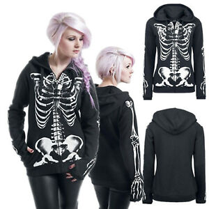 Women's Gothic Witch Punk Hoodies Sweatshirt Slim Long Sleeve Pullover Plus Size