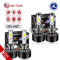 4x H1 H7 Combo 6000K Super White 12000LM LED Headlight Bulbs Kit High Low Beam