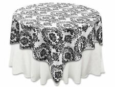 Zen Creative Designs 58 x 58 Inch Square Tablecloth Flock Damask Black Whit