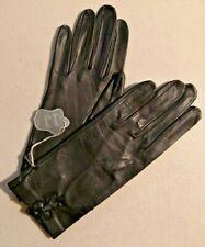 Vintage 1960s Guante Varade Madrid Leather Lady Black gloves Sz. 7 Nos - 3124