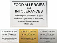 Food Allergy and Intolerances Safety Notice Sign - Aluminium Self Adhesive