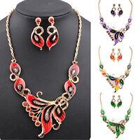 EG_ Women's Luxury Butterfly Enamel Choker Chain Necklace Earrings Jewelry Set G
