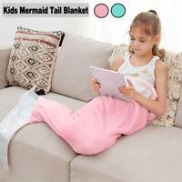 Mermaid Tail Blanket Plush Soft Flannel Fleece Sleeping Bag Wearable Fluffy Kids