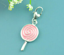 SILVER LOLLY PINK LOLLIPOP ENAMEL CLIP ON CHARM FOR ZIPPER BRACELET